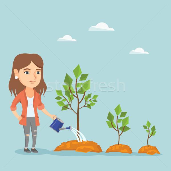 Сток-фото: молодые · кавказский · деловой · женщины · деревья · три