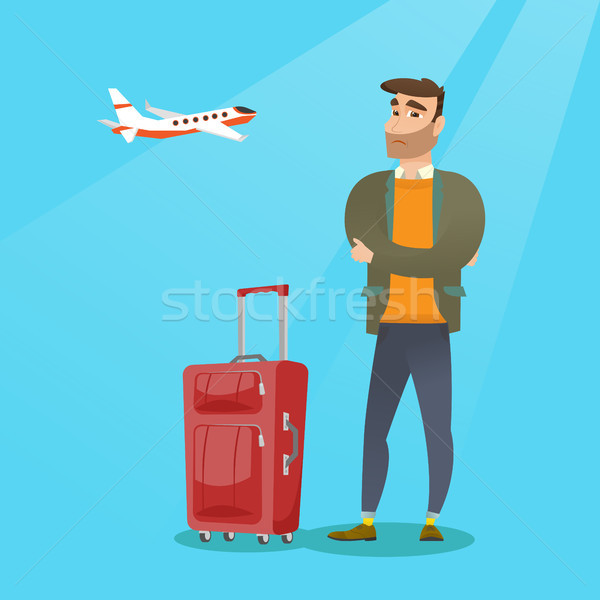 кавказский человека страдание страхом Flying молодые Сток-фото © RAStudio