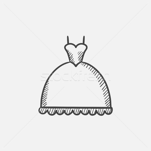 Wedding dress sketch icon. Stock photo © RAStudio
