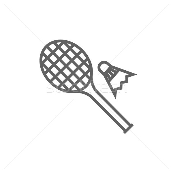 Shuttlecock and badminton racket line icon. Stock photo © RAStudio