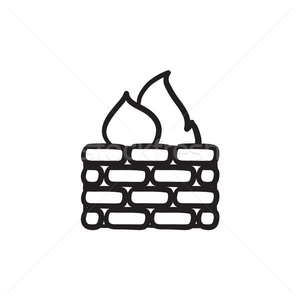 Firewall szkic ikona wektora odizolowany Zdjęcia stock © RAStudio