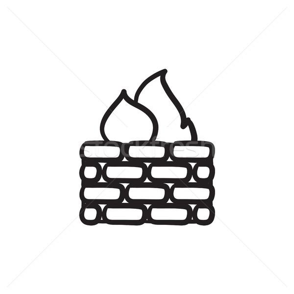 Firewall esboço ícone vetor isolado Foto stock © RAStudio