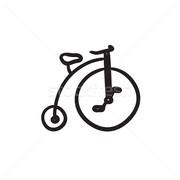 Old bicycle with big wheel sketch icon. Stock photo © RAStudio