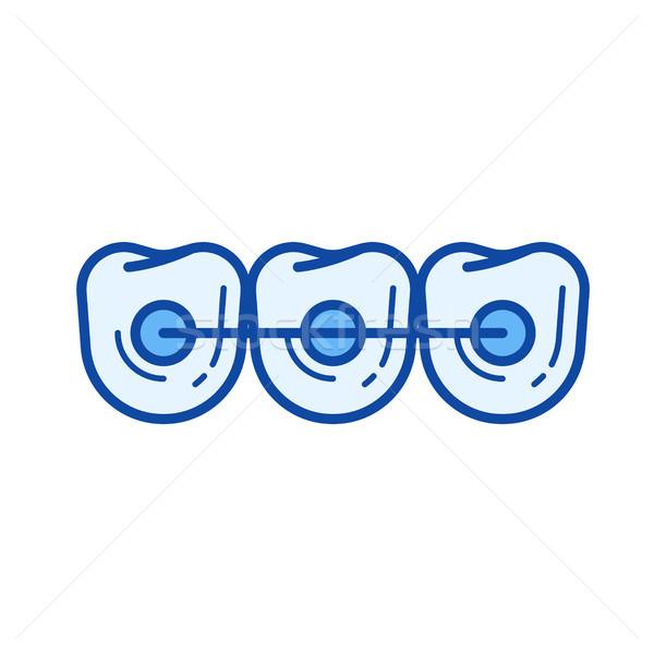 Dişler pantolon askısı hat ikon vektör yalıtılmış Stok fotoğraf © RAStudio