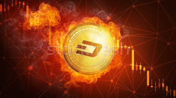 Golden Dash coin falling in fire flame. Stock photo © RAStudio