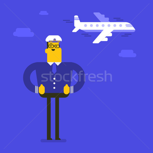 Young cheerful caucasian white airline pilot. Stock photo © RAStudio