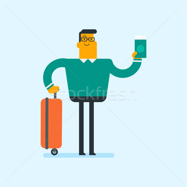Caucasian airplane passenger holding a passport. Stock photo © RAStudio