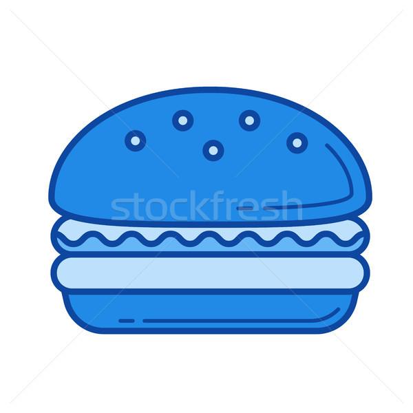 Burger линия икона вектора изолированный белый Сток-фото © RAStudio