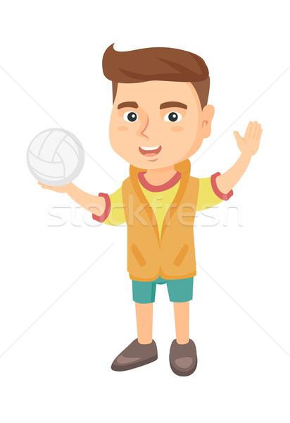 Pequeno caucasiano menino voleibol bola Foto stock © RAStudio