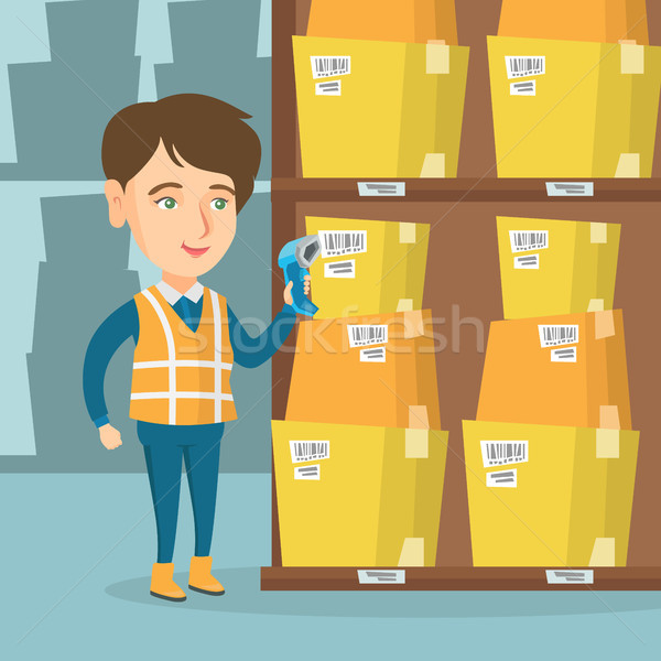 Caucasian warehouse worker scanning barcode on box Stock photo © RAStudio