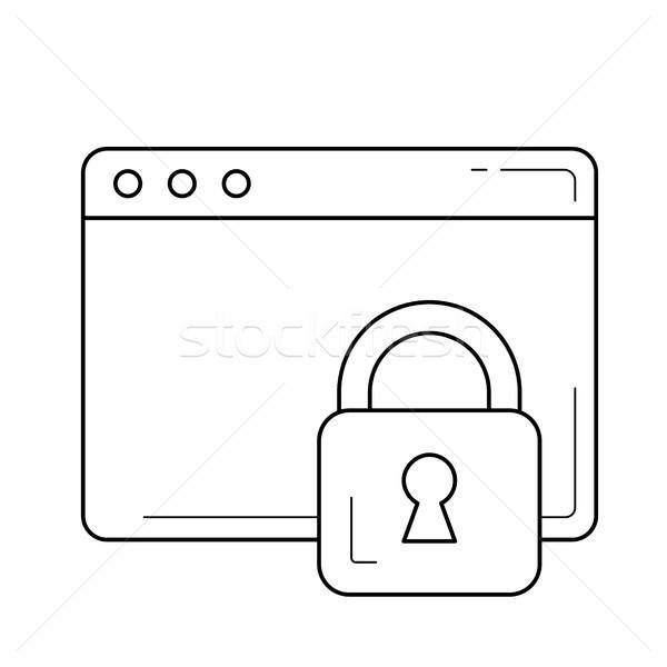 заблокированный страница линия икона вектора изолированный Сток-фото © RAStudio