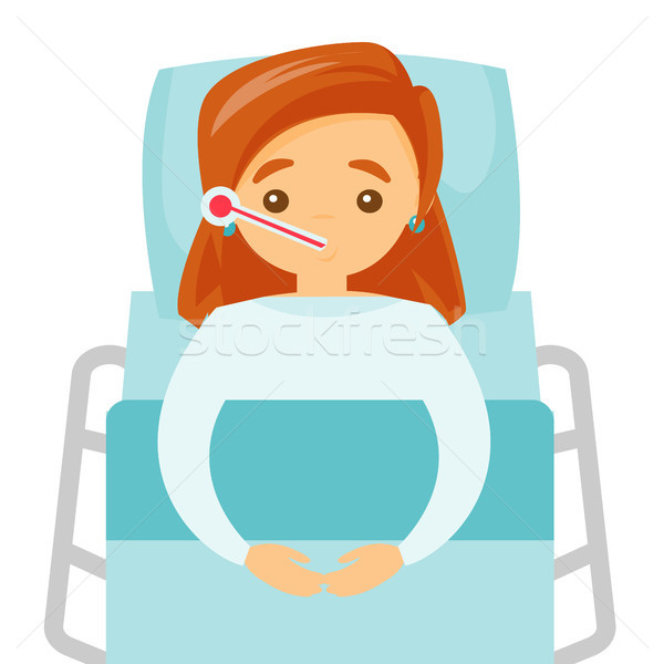 Malade blanche femme température Photo stock © RAStudio