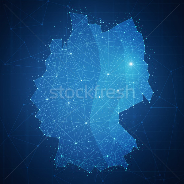 Polygon Germany map on blockchain hud banner. Stock photo © RAStudio