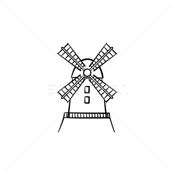 Mulino a vento sketch icona contorno doodle Foto d'archivio © RAStudio