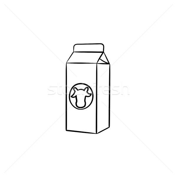 Carton box of milk hand drawn sketch icon. Stock photo © RAStudio