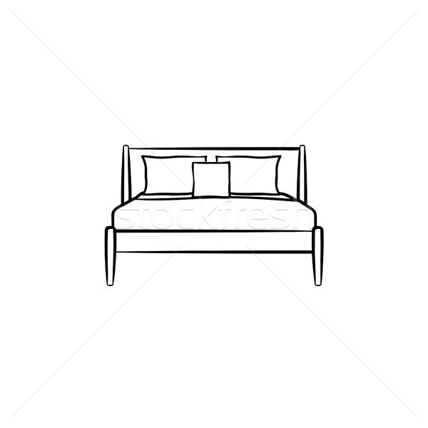 Bed with pillows hand drawn sketch icon. Stock photo © RAStudio