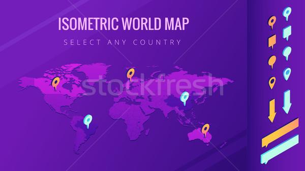 World map isometric vector illustration Stock photo © RAStudio