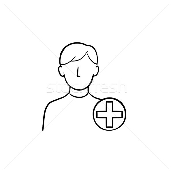 Stock photo: Add new user hand drawn outline doodle icon.