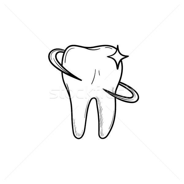 Zahn Gesundheit Zahnpflege Hand gezeichnet Gliederung Doodle Stock foto © RAStudio