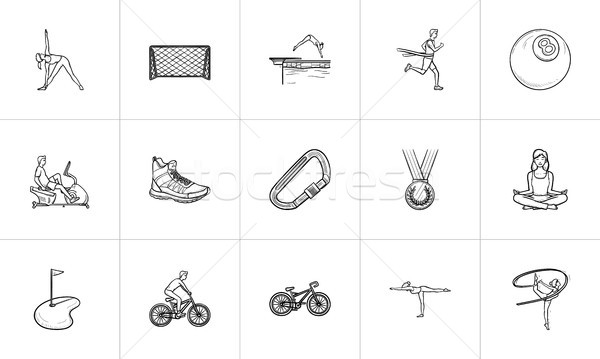 Stock fotó: Sportok · kézzel · rajzolt · skicc · firka · ikon · gyűjtemény · nyomtatott