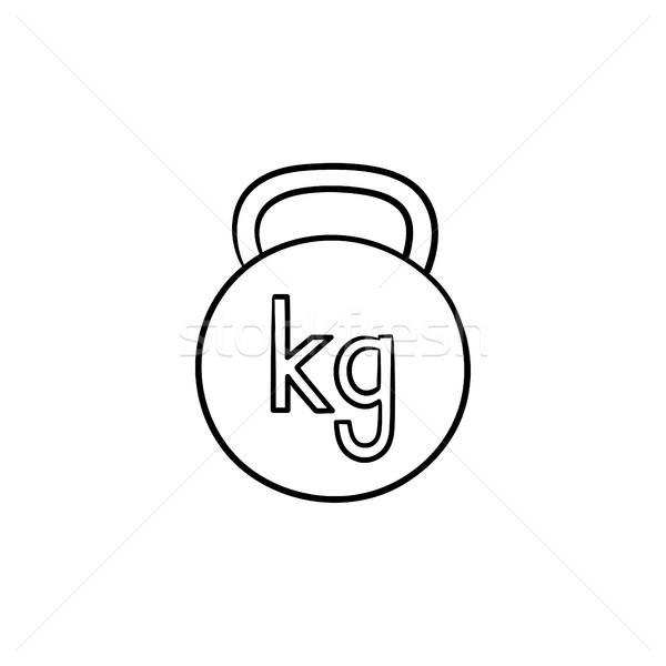 Kettlebell kézzel rajzolt skicc firka ikon tornaterem Stock fotó © RAStudio