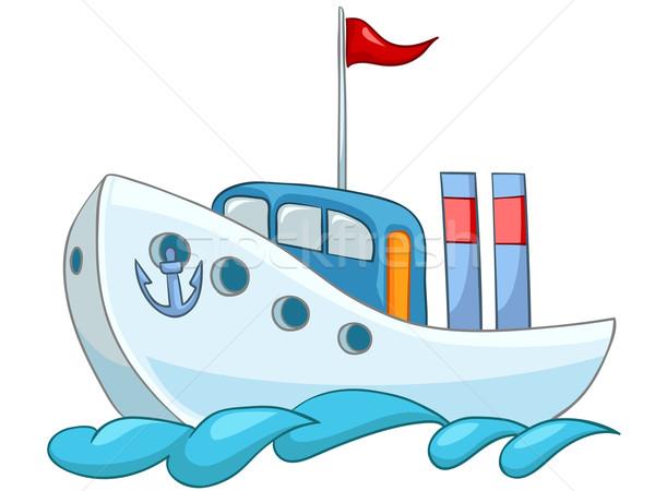 Cartoon schip illustratie geïsoleerd witte vector Stockfoto © RAStudio
