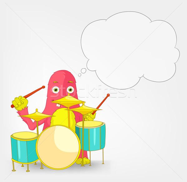 滑稽 怪物 鼓手 孤立 灰色 商業照片 © RAStudio