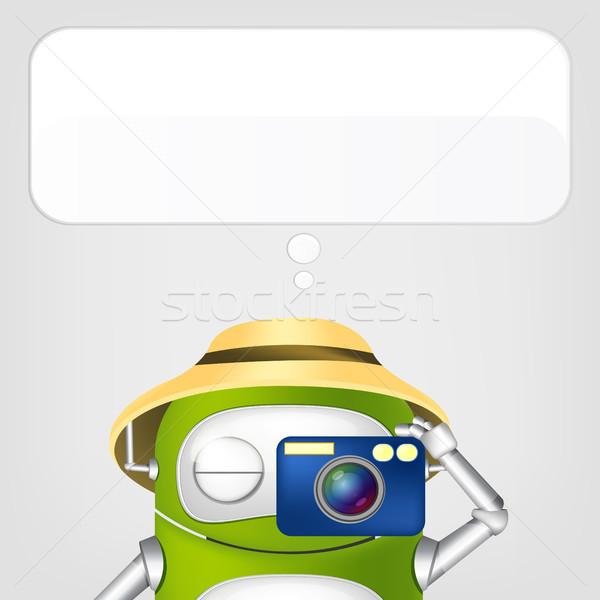 Cute robot odizolowany szary gradient Zdjęcia stock © RAStudio