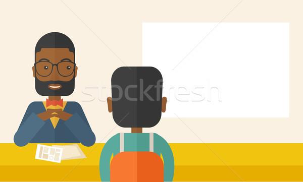Uśmiechnięty czarny ludzi zasób kierownik wnioskodawca Zdjęcia stock © RAStudio