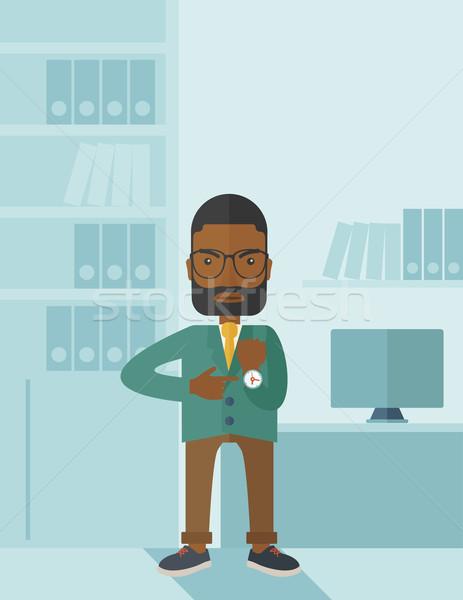Hombre negro enojado senalando ver negro gerente Foto stock © RAStudio