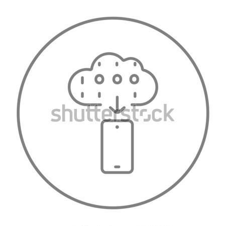 Mobile phone with weather forecast thin line icon Stock photo © RAStudio