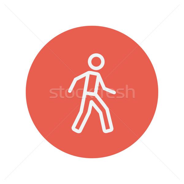 Walking exercise thin line icon Stock photo © RAStudio