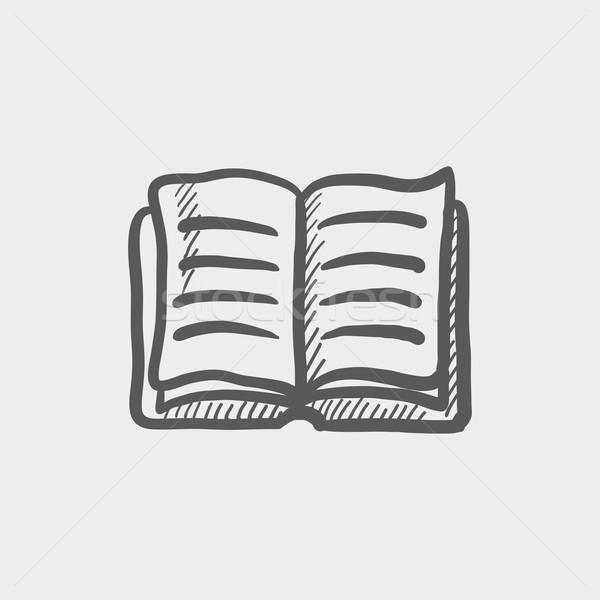 Nyitott könyv rajz ikon háló mobil kézzel rajzolt Stock fotó © RAStudio