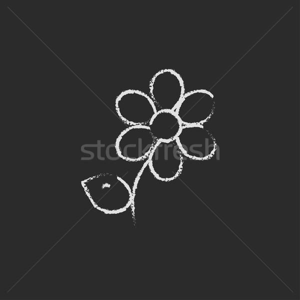 Flower icon drawn in chalk. Stock photo © RAStudio