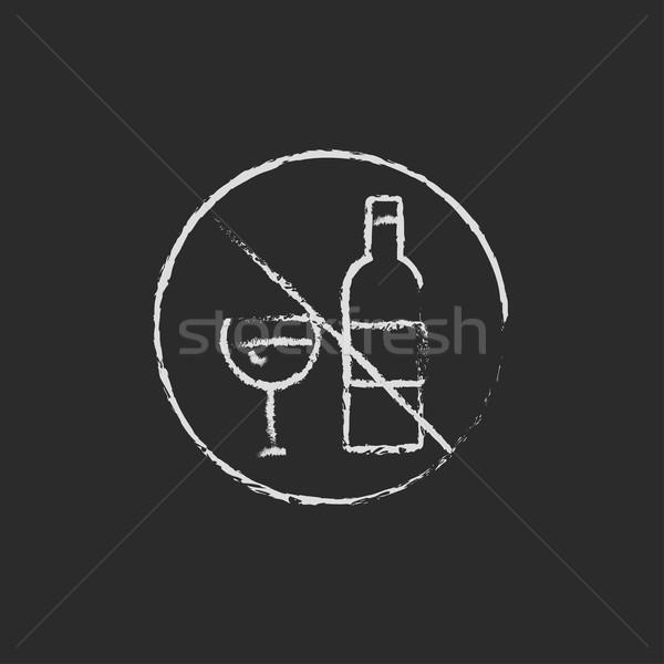 Photo stock: Pas · alcool · signe · icône · craie