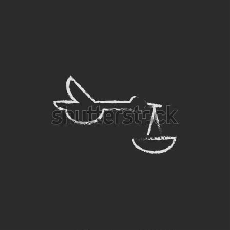 Baba kosár gólya ikon rajzolt kréta Stock fotó © RAStudio