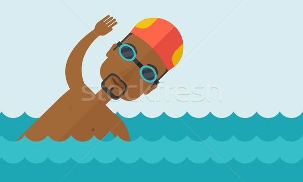 úszó képzés medence visel sapka szemüveg Stock fotó © RAStudio