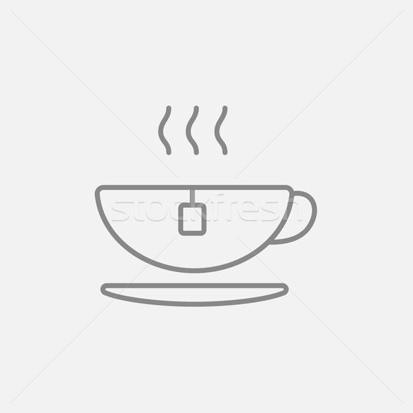 Forró teáscsésze vonal ikon háló mobil Stock fotó © RAStudio