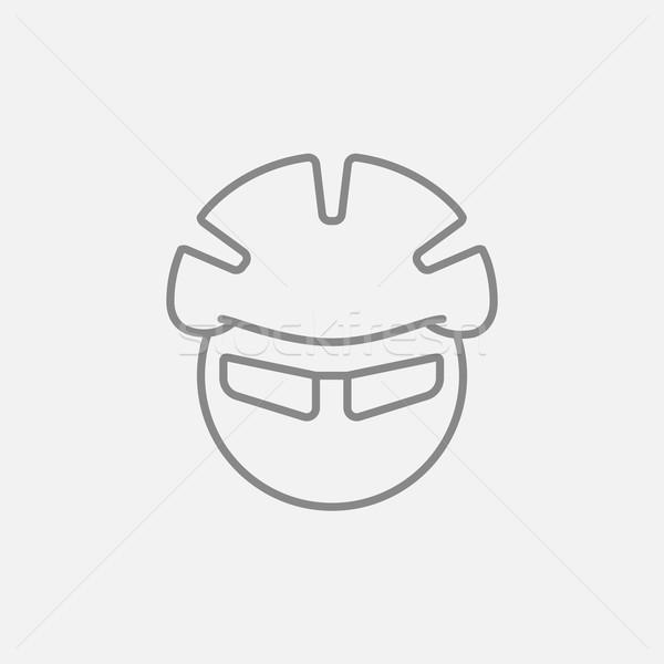 Man in bicycle helmet and glasses line icon. Stock photo © RAStudio