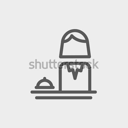 Kobiet recepcjonista line ikona internetowych komórkowych Zdjęcia stock © RAStudio