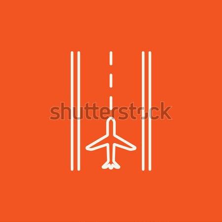 Repülőtér kifutópálya vonal ikon háló mobil Stock fotó © RAStudio
