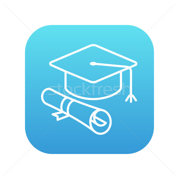 Graduación CAP papel desplazamiento línea icono Foto stock © RAStudio