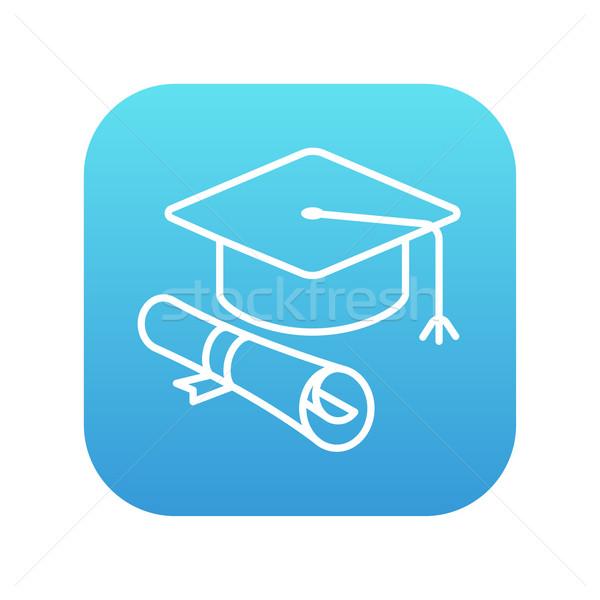 Graduation cap papier défiler ligne icône Photo stock © RAStudio
