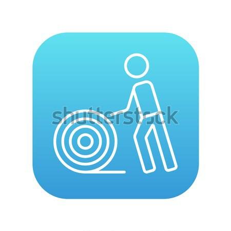 Homem arame carretel linha ícone teia Foto stock © RAStudio