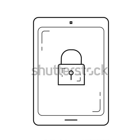 Digital tablet security line icon. Stock photo © RAStudio