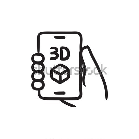 Stock photo: Smartphone with three D box line icon.