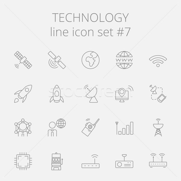 Stock fotó: Technológia · ikon · gyűjtemény · vektor · sötétszürke · ikon · izolált