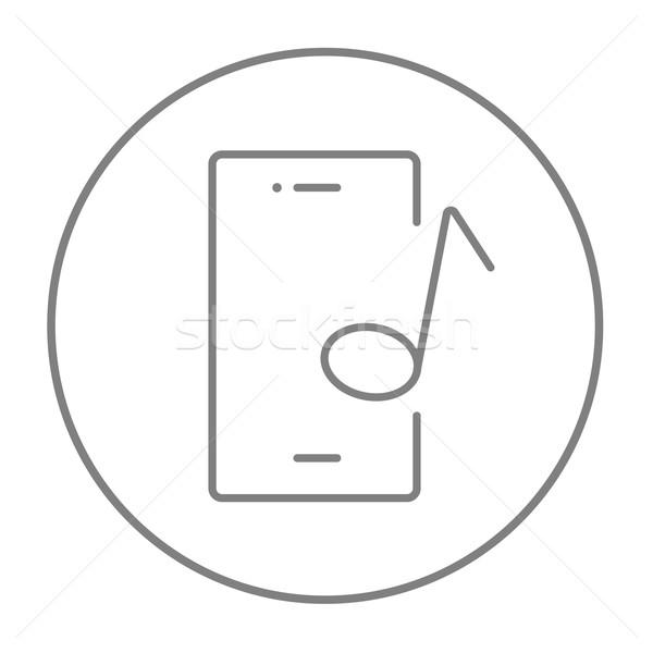 Phone with musical note line icon. Stock photo © RAStudio