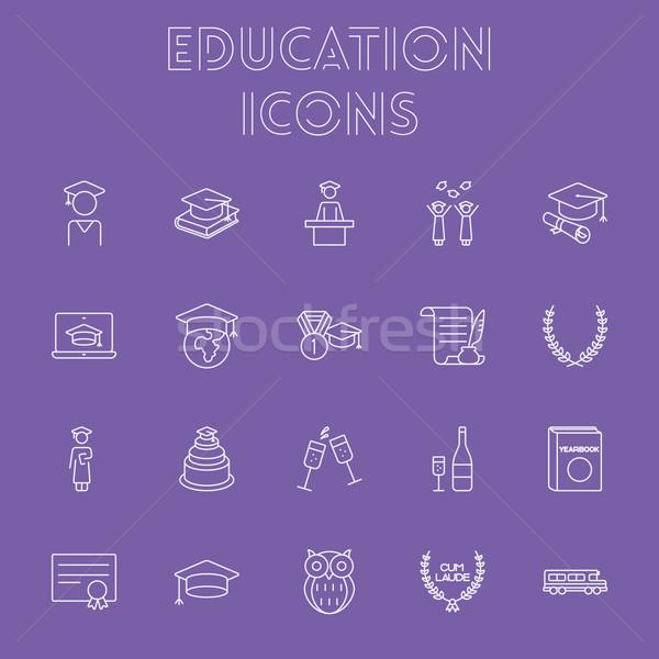Education icon set. Stock photo © RAStudio
