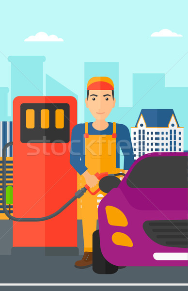 Man filling up fuel into car. Stock photo © RAStudio